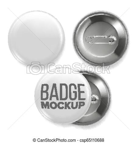white empty badge mockup vector pin brooch white button blank two sides front back view branding design 3d realistic illustration