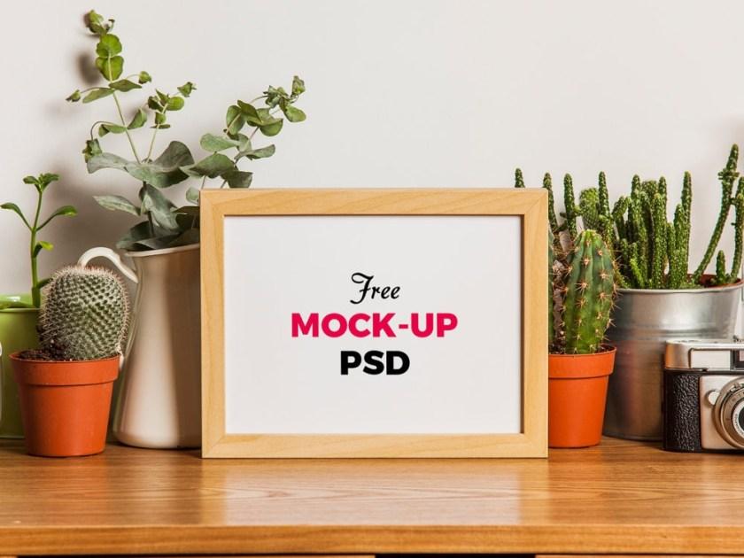 wood photo frame on the desk free mockup free mockup