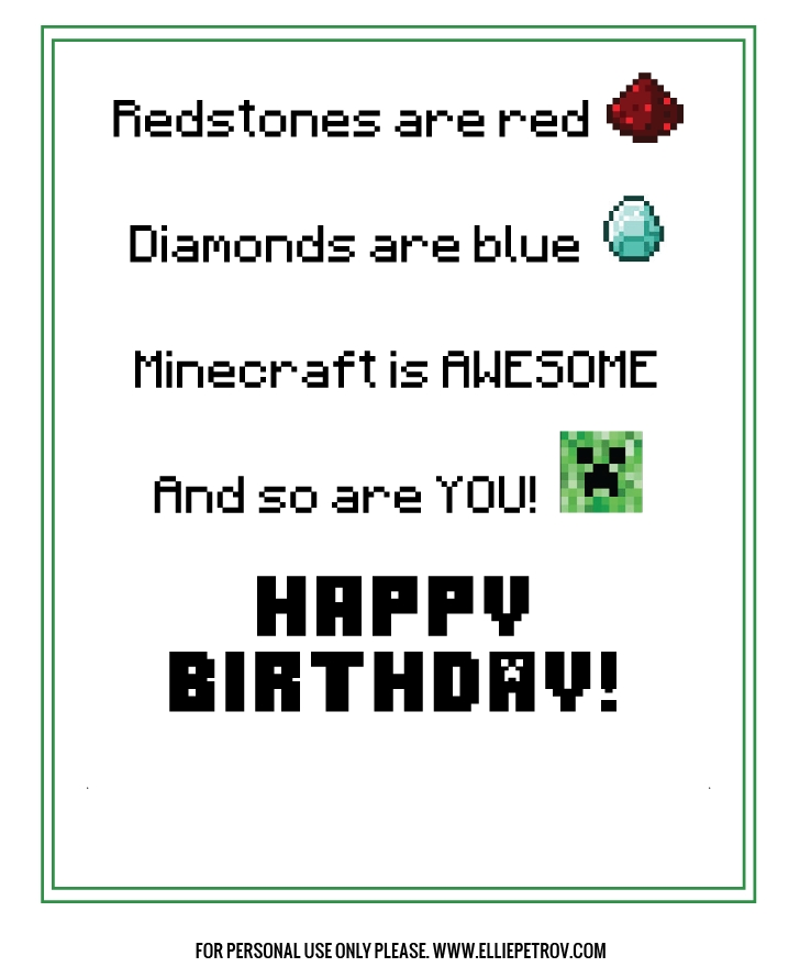 free printable minecraft birthday card kids birthday
