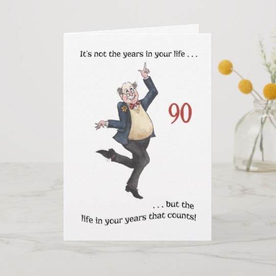 fun age specific 90th birthday card for a man