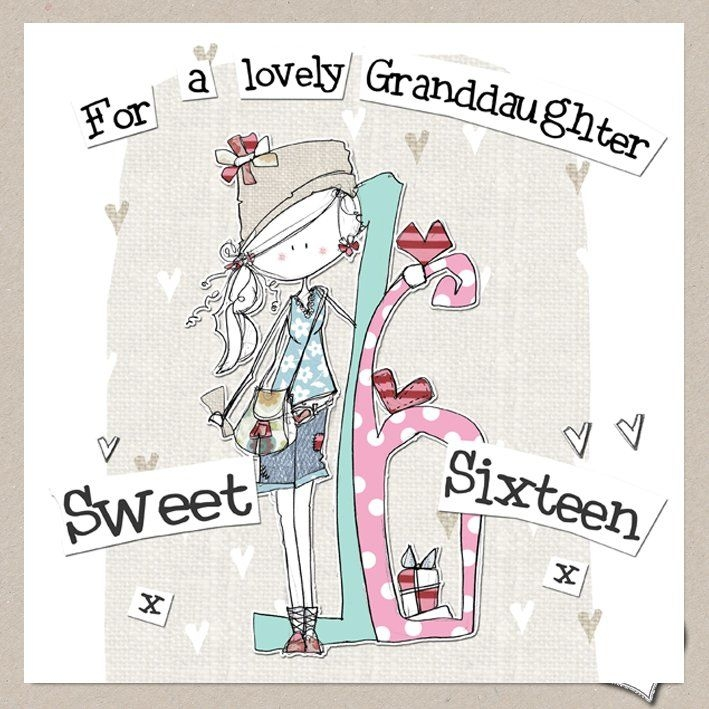 hand finished granddaughter 16th birthday card large sweet sixteen birthday card