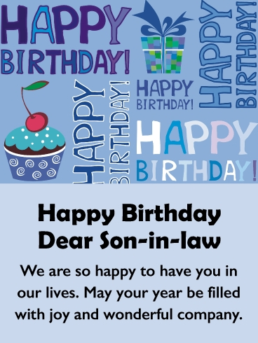 part of the family happy birthday card for son in law