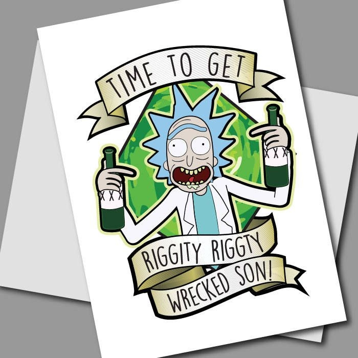 rick morty card printable rick and morty birthday card