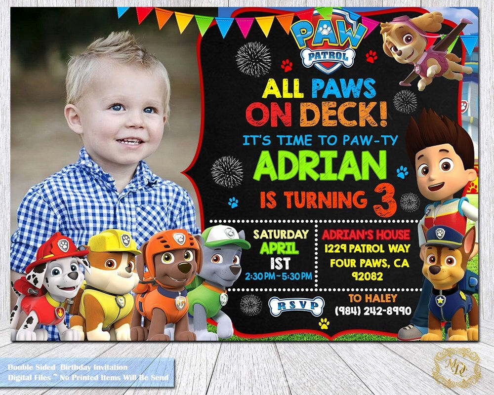 020 paw patrol birthday invitations template elegant