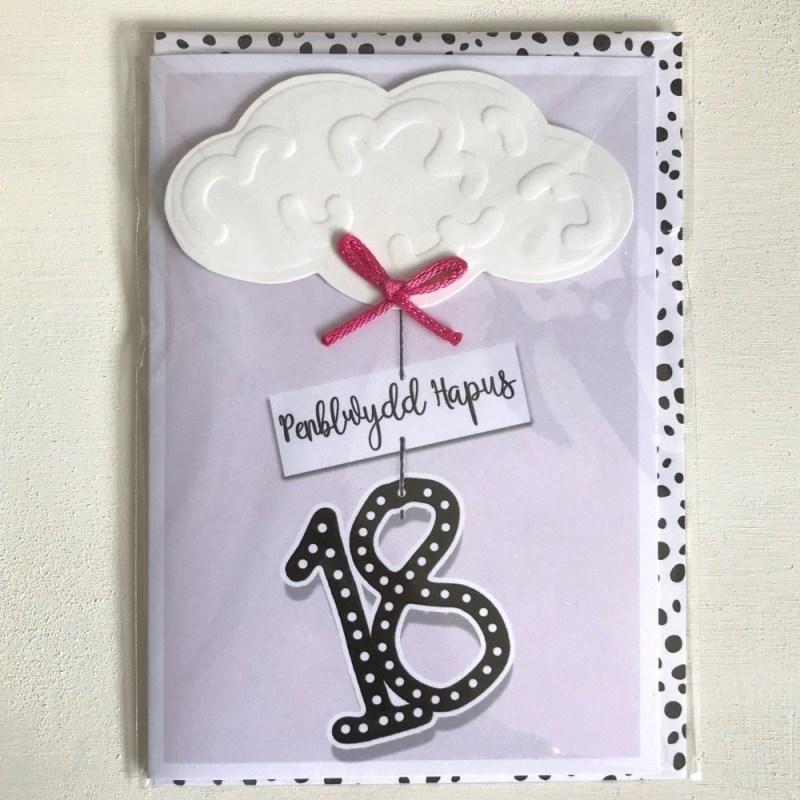 18th birthday card penblwydd hapus