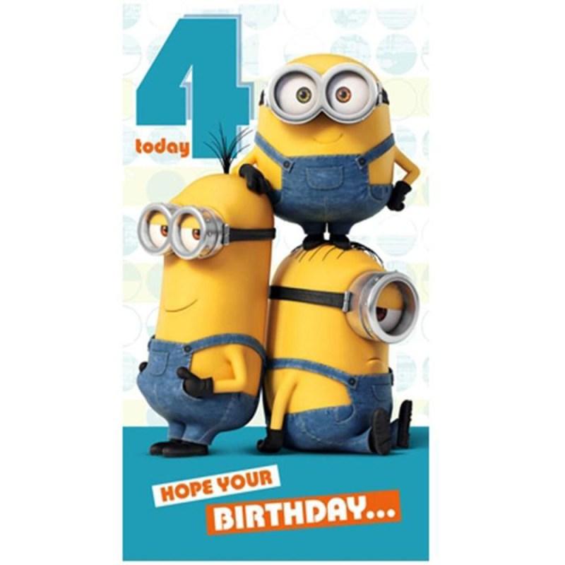 4 today minions birthday card