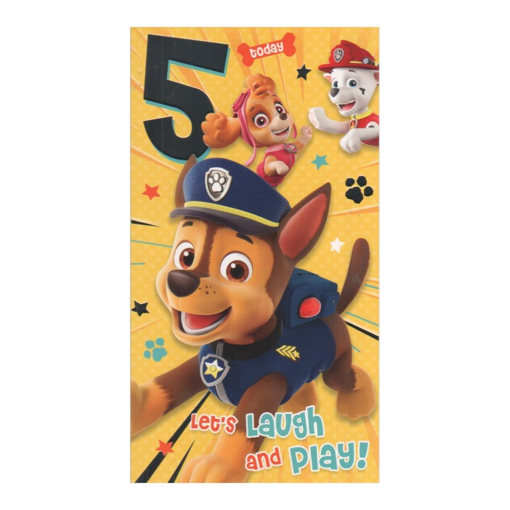 5 today paw patrol birthday card