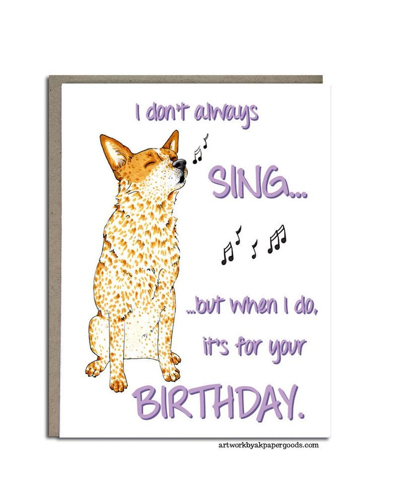 australian cattle dog birthday card cattle dog 4x5 greeting card i dont always sing red heeler