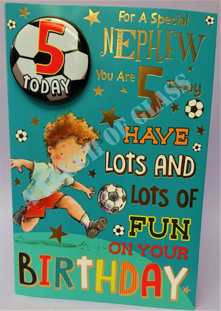 badge birthday card 5 year old nephew