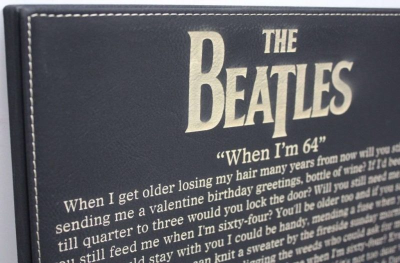 beatles when im 64 laser etched lyrics band art black leatherette plaque c3