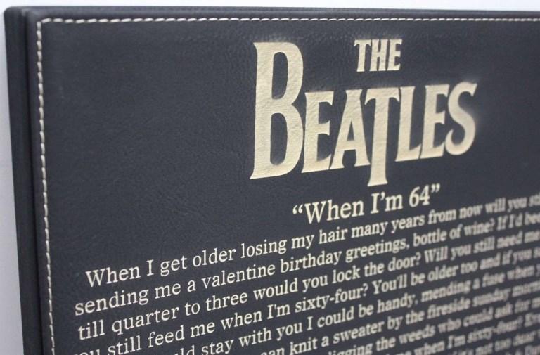 beatles when im 64 laser etched lyrics band art black leatherette plaque c3