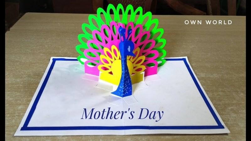 beautiful mothers day card idea diy peacock pop up card