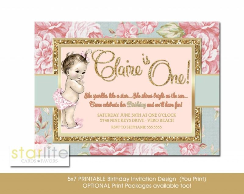 blush pink first birthday invitation floral gold glitter any age vintage style girl