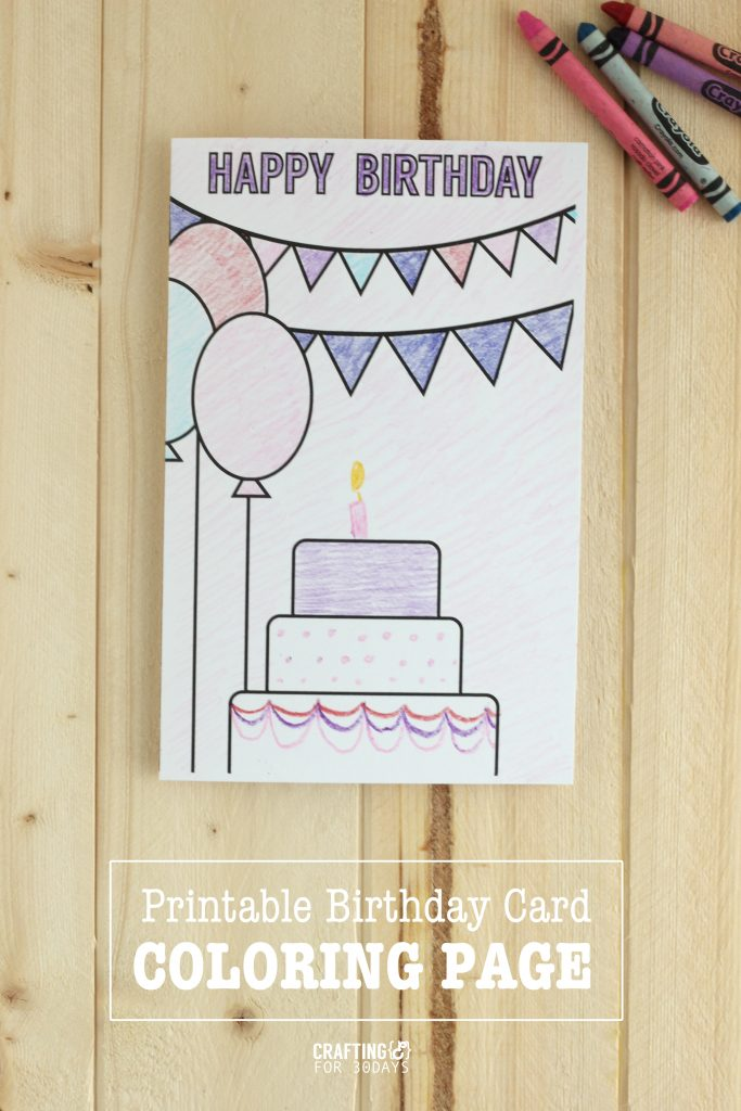 coloring birthday card printable freeloring page cartoon