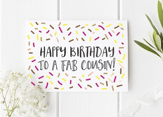 cousin birthday card happy birthday to a fab cousin cousin card cousin birthday card fun cards cute birthday card cute card