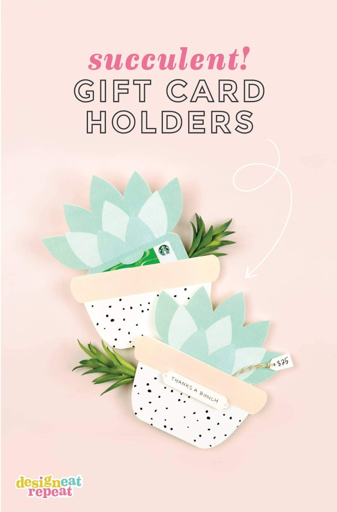 cute succulent printable gift card holder design eat repeat