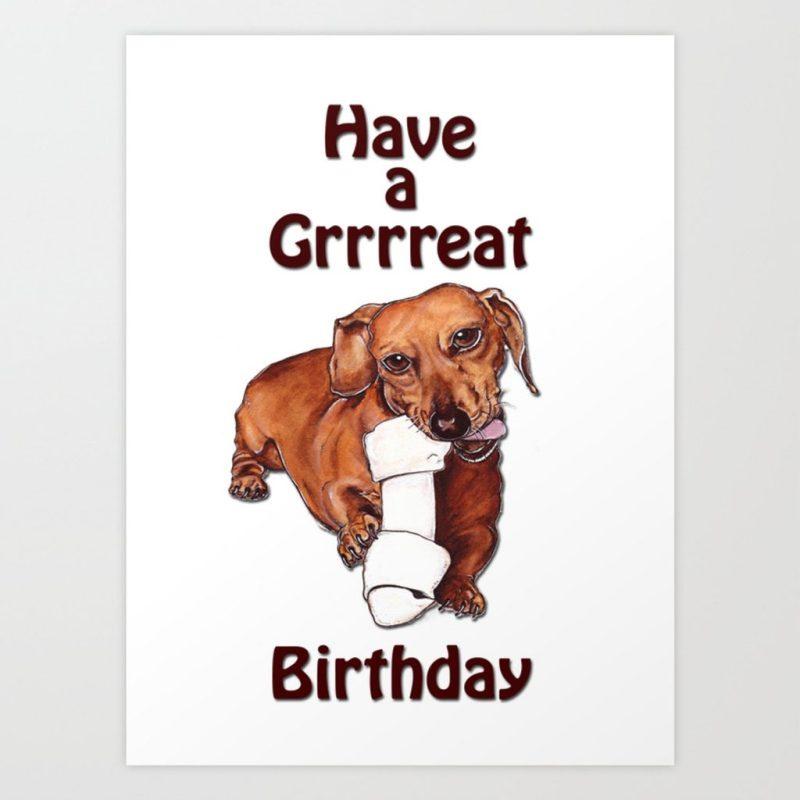 dachshund birthday card art print