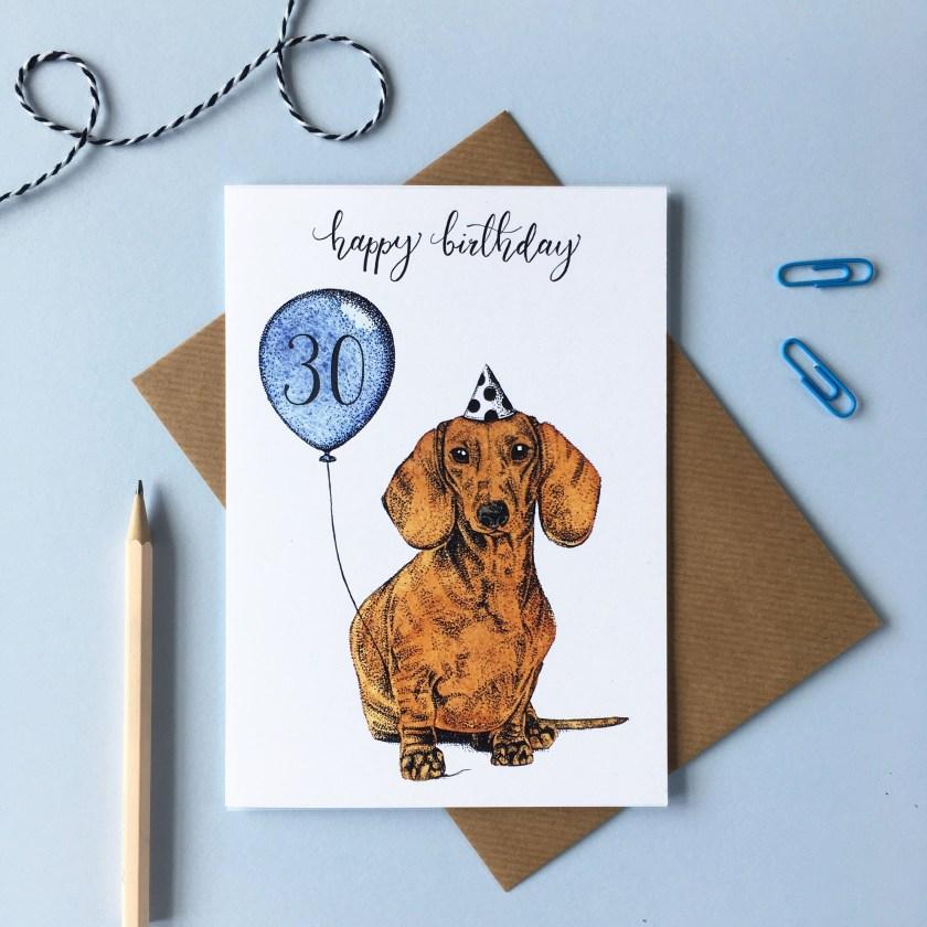 dachshund dog birthday card puppy greetings card animal birthday card
