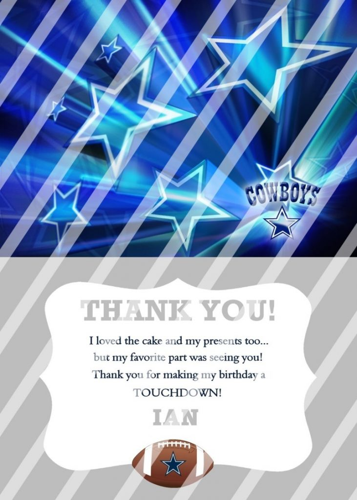dallas cowboys personalized digital thank you card 2 any