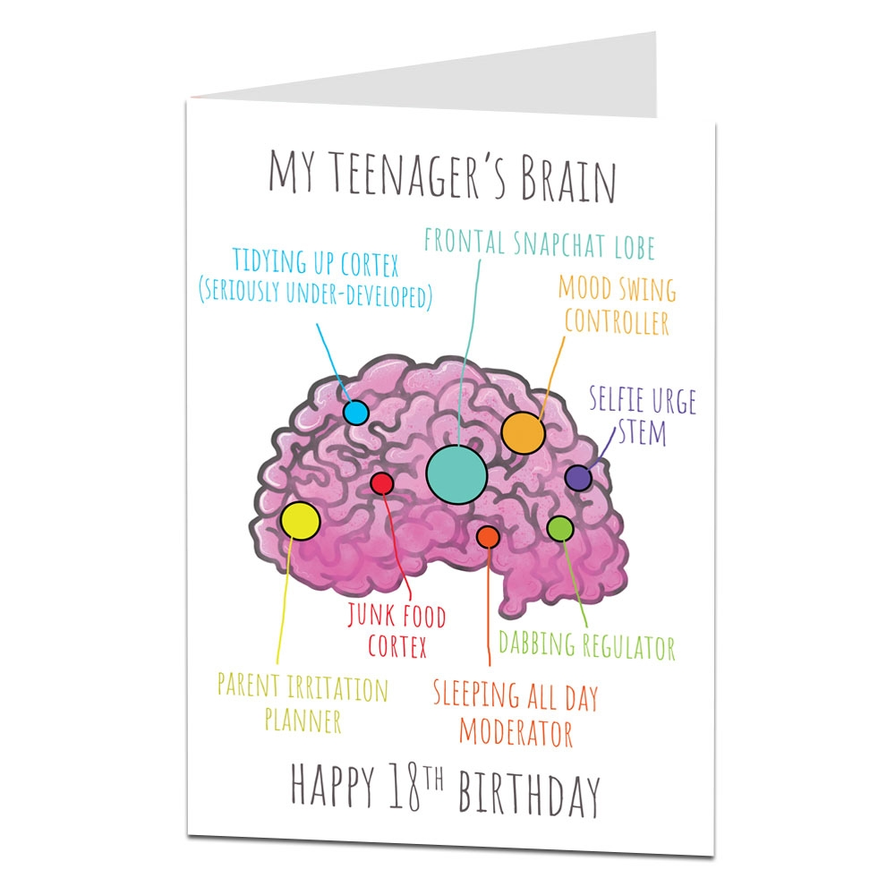 details about funny 18th birthday card for girls boys teenagers brain design son daughter