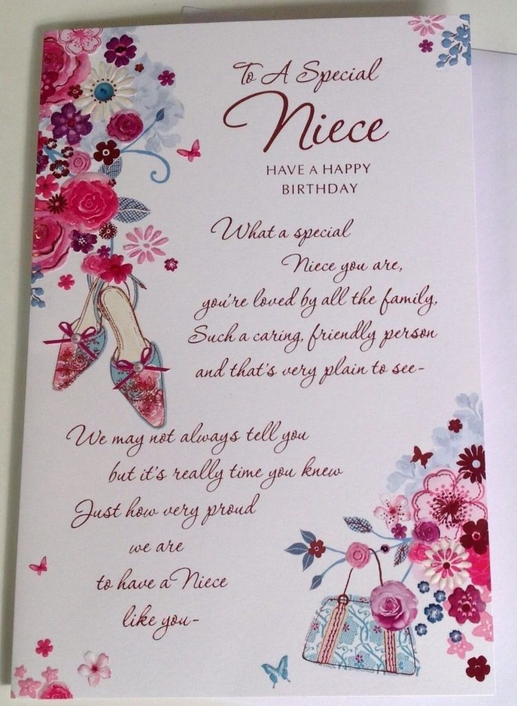 details about niece birthday card embossed with sentiment verse and flower design