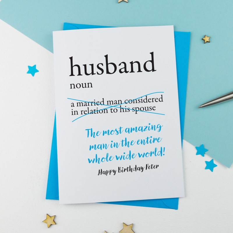dictionary husband personalised birthday card a is for alphabet