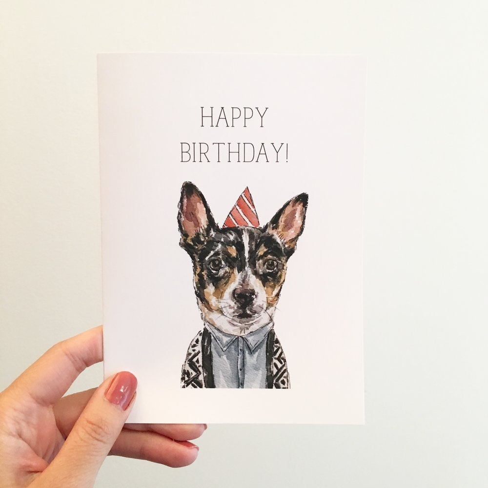 dog birthday card gloria ho illustrations