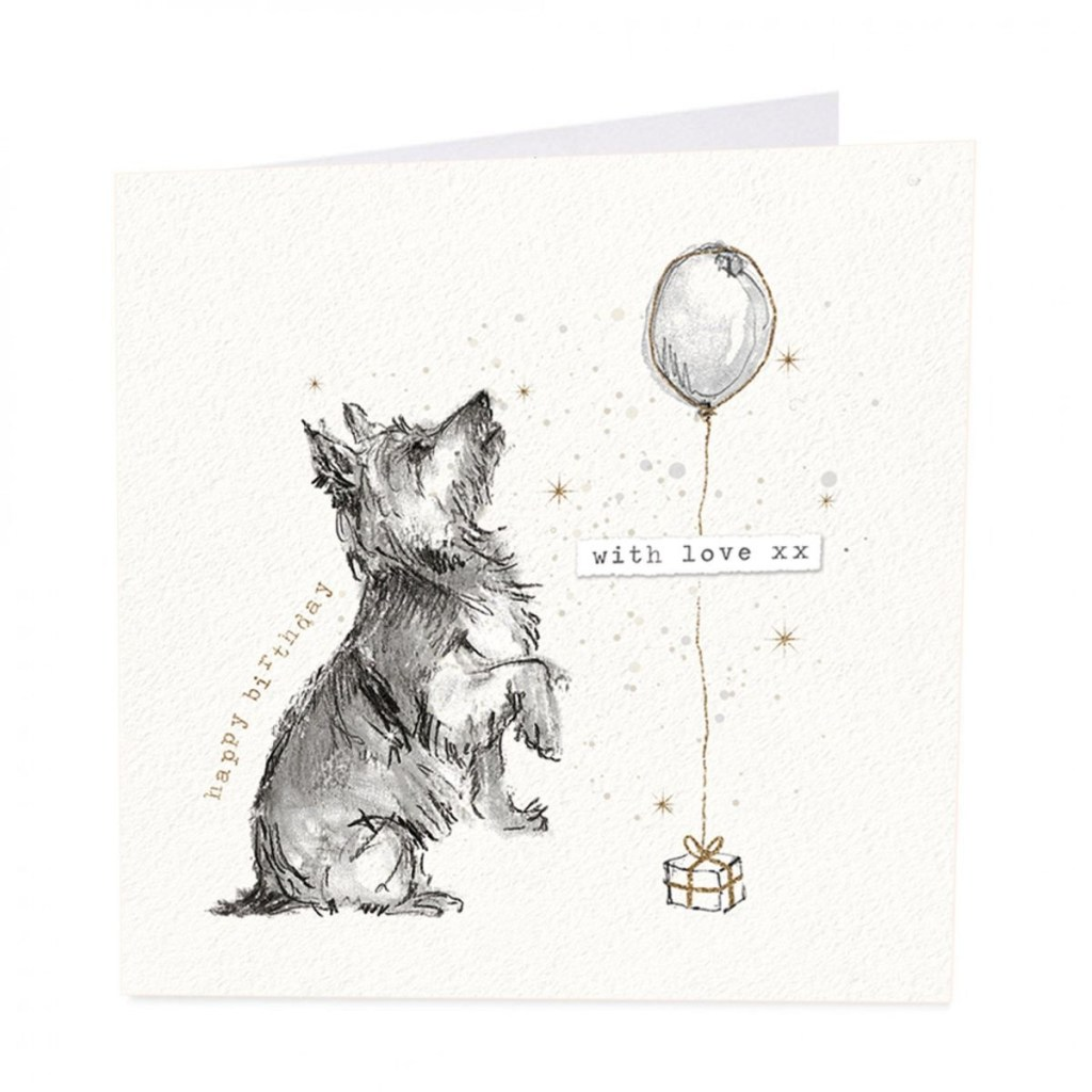 dog present happy birthday card