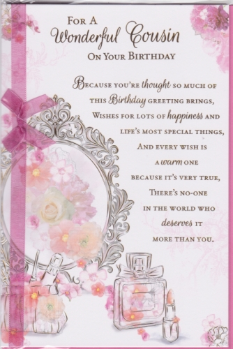 for a wonderful cousin on your birthday embossed personalised braille birthday card just for you