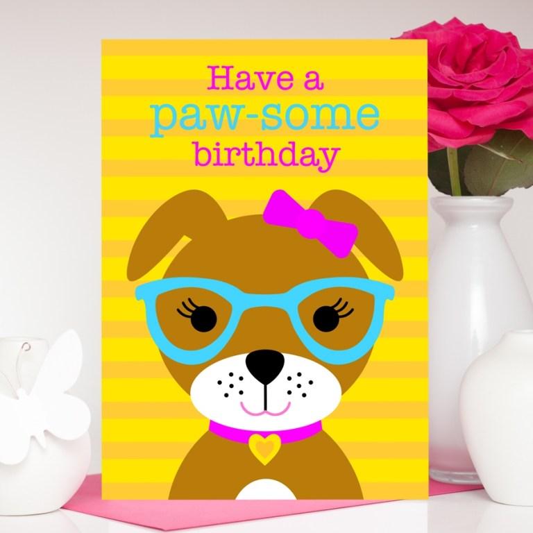 girl dog birthday card daniella the dog