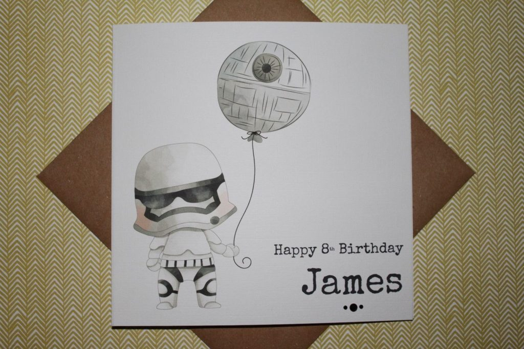 handmade personalised star wars stormtrooper birthday card any age son brother