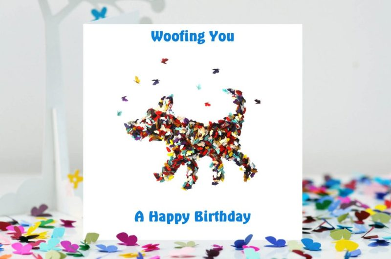 happy birthday butterfly dog card