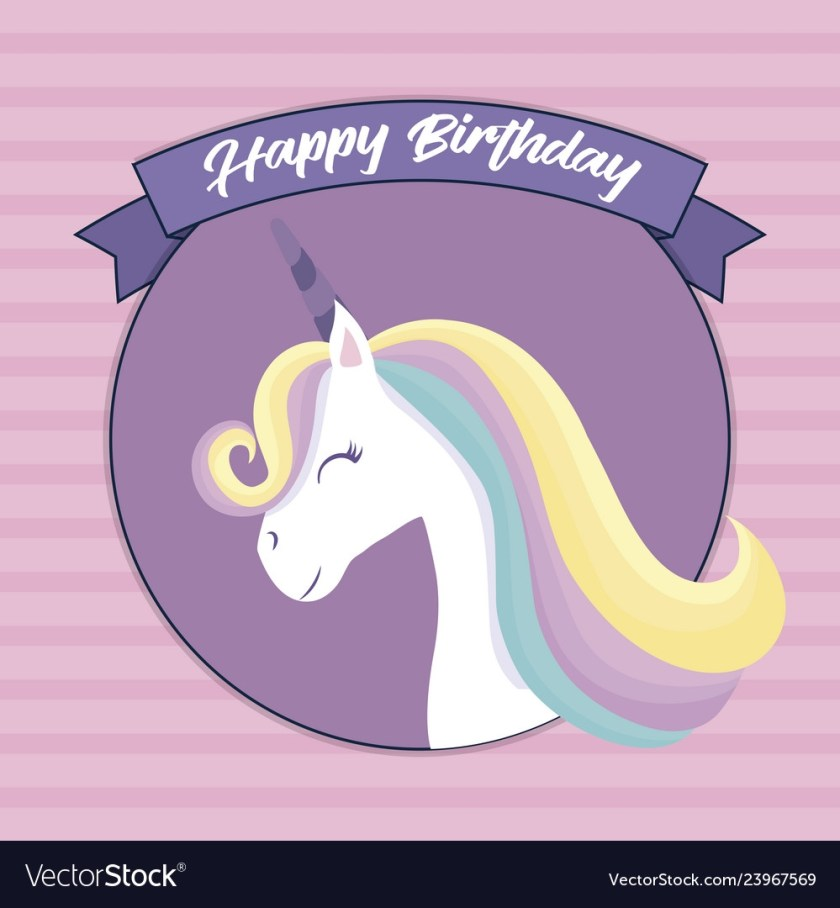 happy birthday card with cute unicorn head