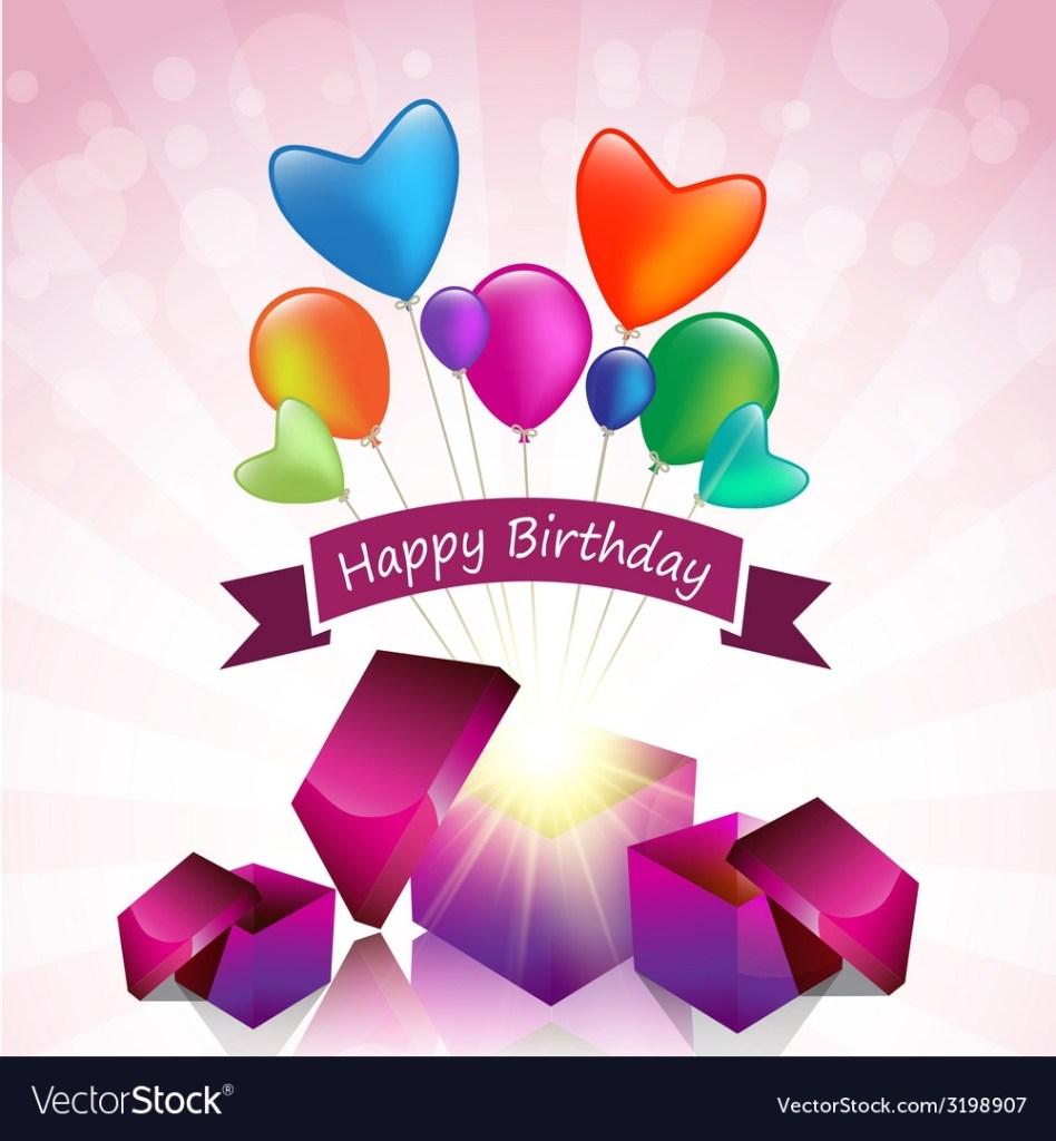 happy birthday card with magic gift box