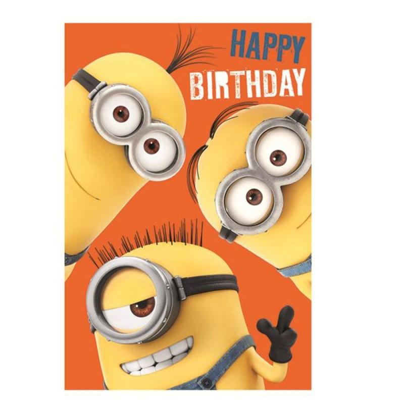 happy birthday minions height chart card