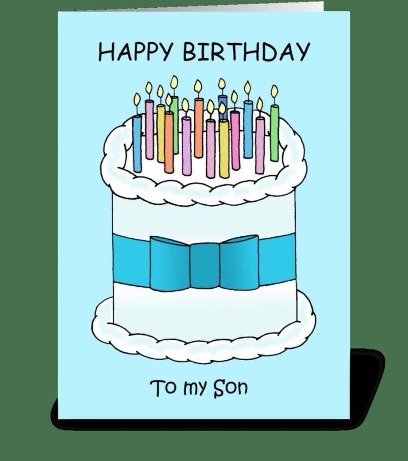 happy birthday son cute cartoon cake
