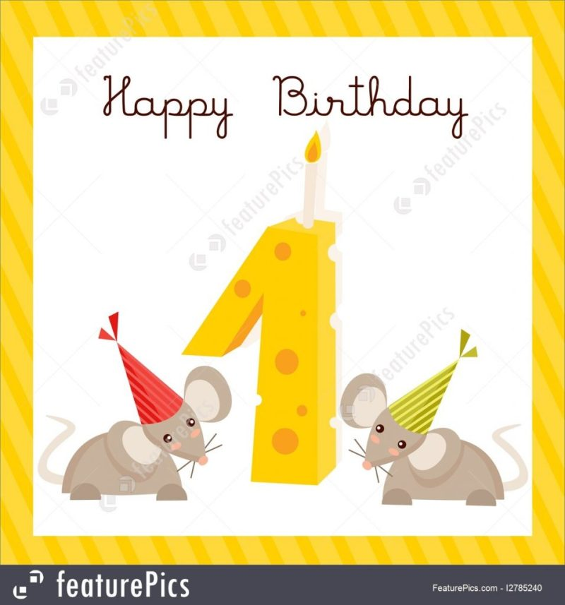 happy first birthday card illustration
