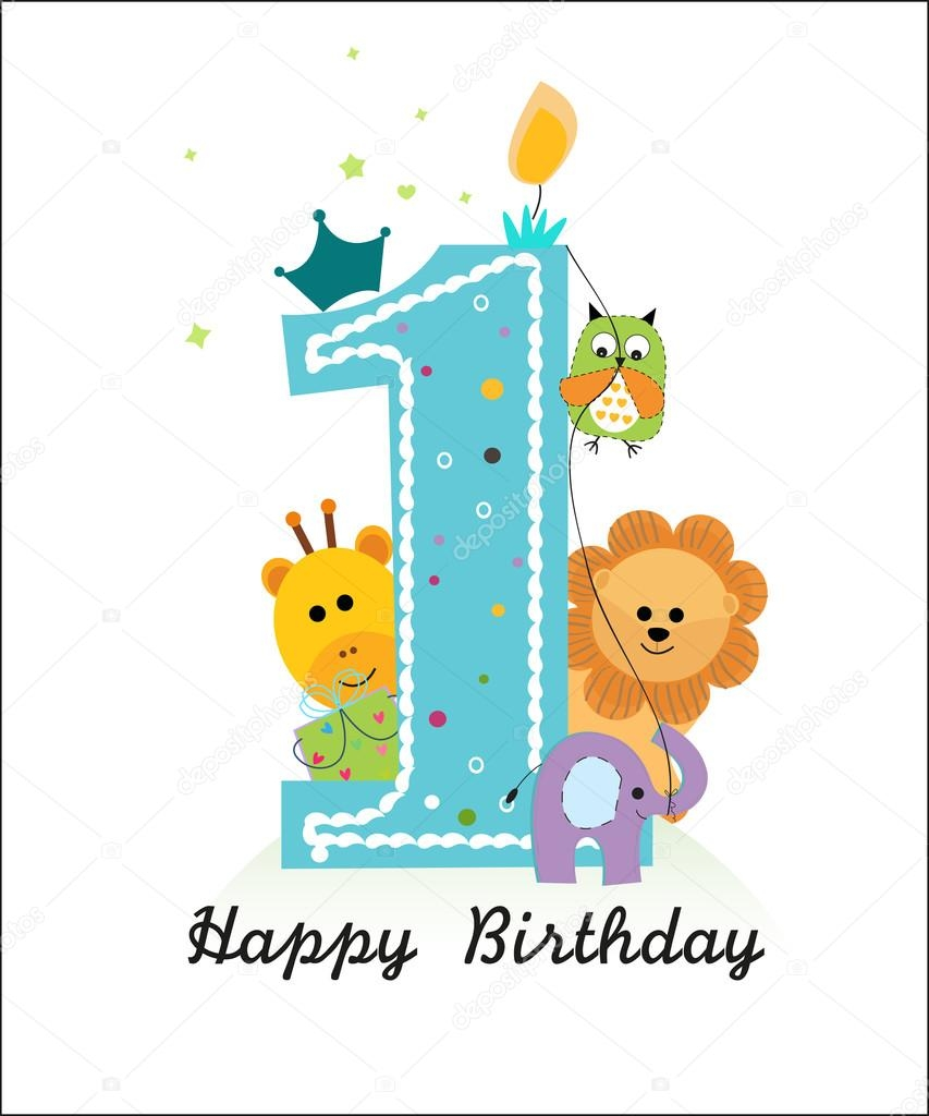 happy first birthday with animals ba boy greeting card