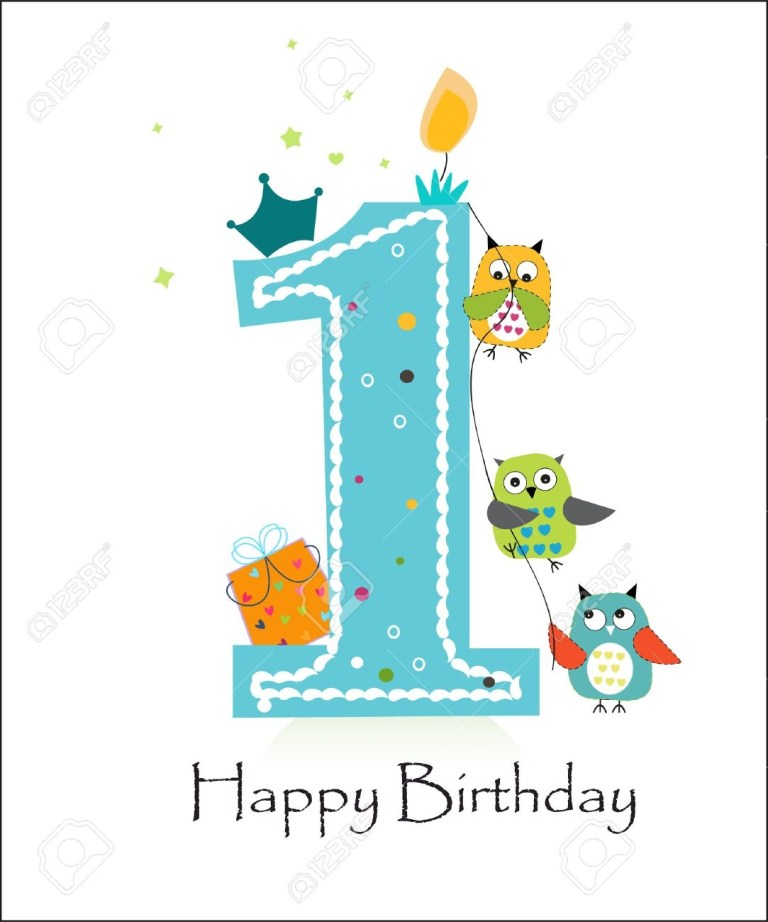 happy first birthday with owls ba boy greeting card vector