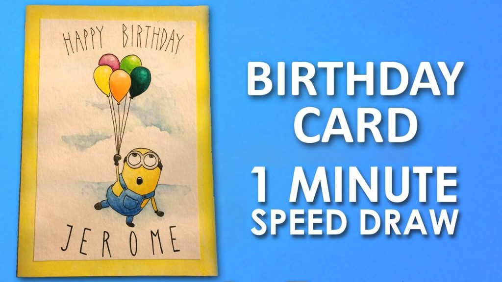 how to draw minion birthday card step step learning video lesson preview