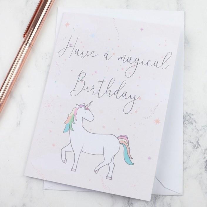 magical birthday unicorn greeting card