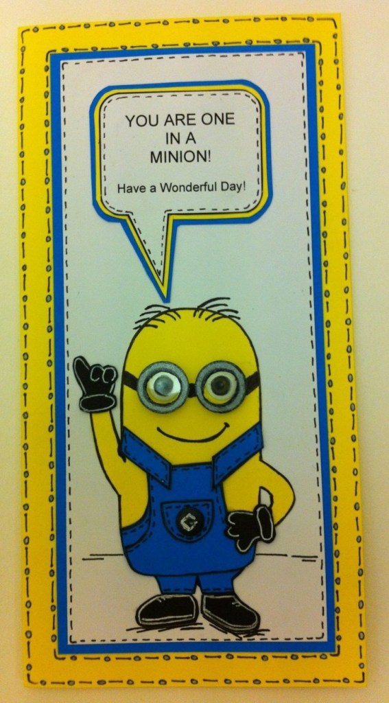 minions birthday card template with sound wording text