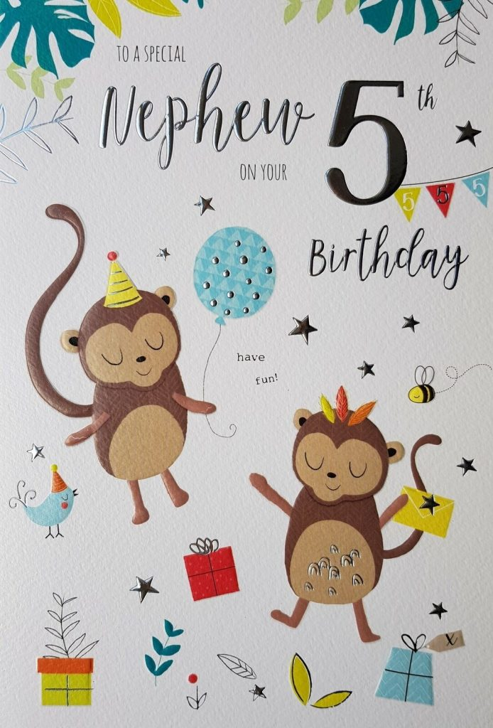 nephew 5th age 5 monkey gifts star design happy birthday card lovely verse special days cards