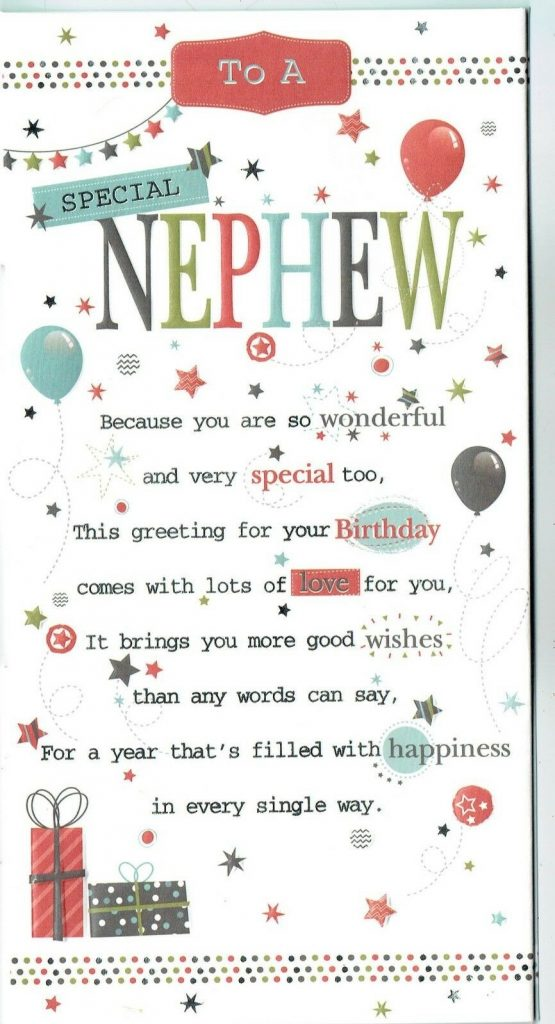 nephew birthday card with sentiment and pop up verse