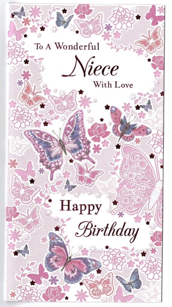 niece birthday card with pop out butterflies