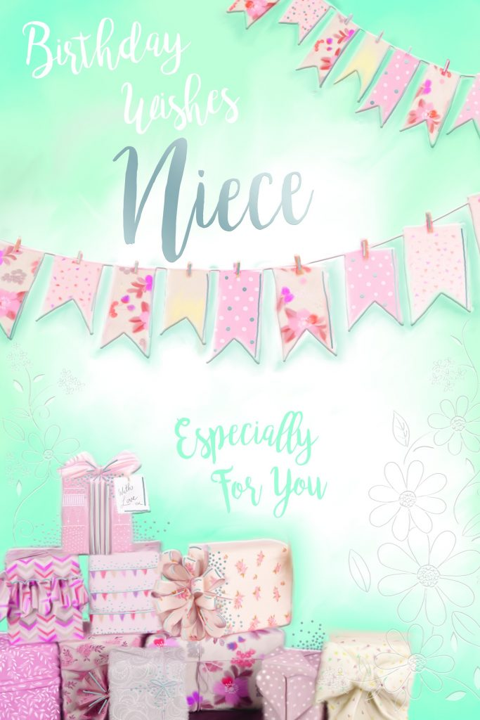 niece wishes presents gifts pegs washing line design happy birthday card special days cards