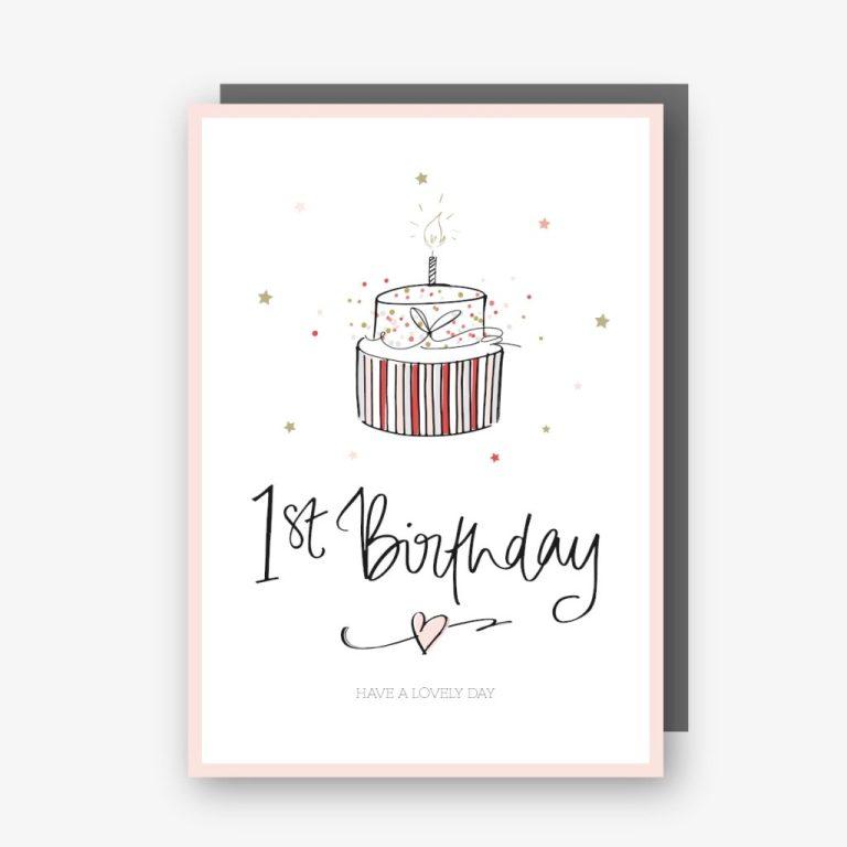 one 1st birthday card pink