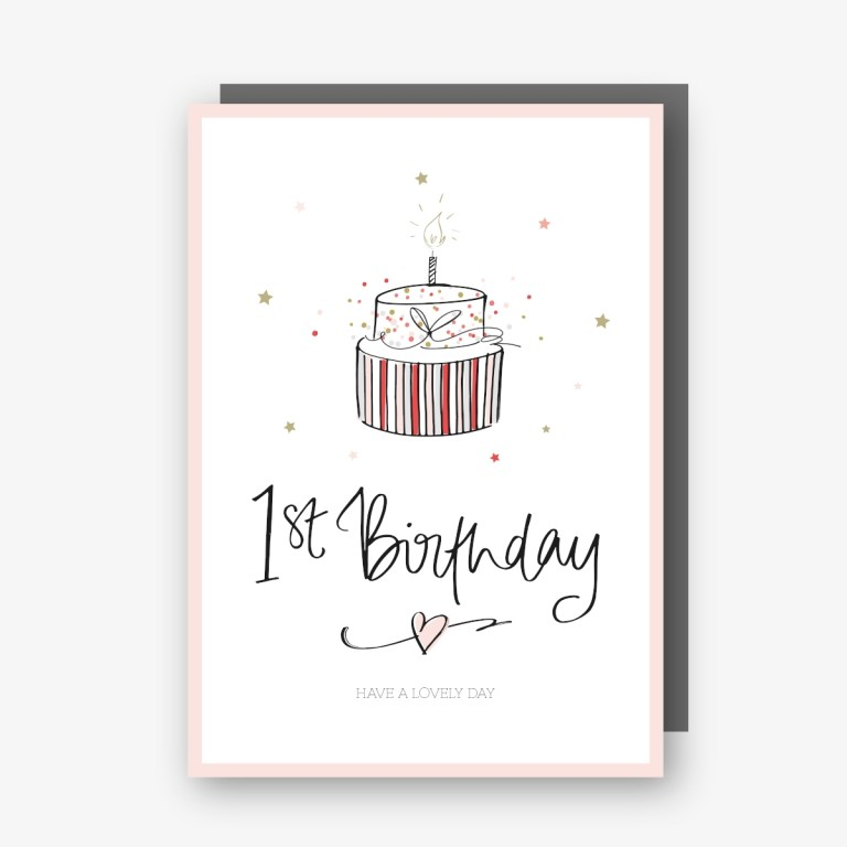 one 1st birthday card pink