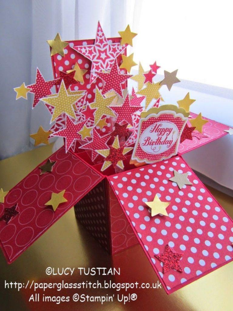 paper glass stitch exploding stars birthday pop up box