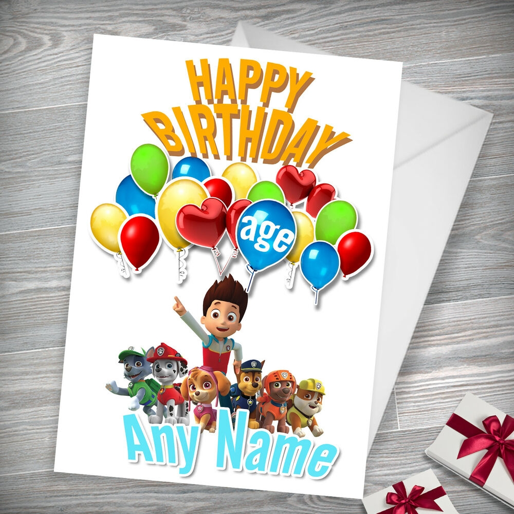 paw patrol personalised birthday card son daughter brother sister grandson ebay